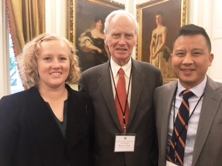 Maren Payne-Holmes, the Hon. Bruce Gelb, and Julius Tsai posing