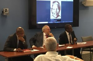 Ron Nixon, Nicholas Cull, and Thilivhali Ratshitanga answer questions about Nelson Mandela. Photo by Hunter B. Martin