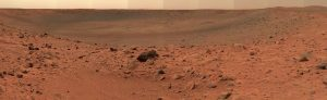 Dusty red landscape of Mar's rocky surface