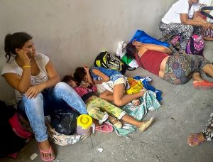 Venezuelan refugees sleeping on the streets