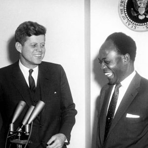 President Kennedy and President Kwame Nkrumah of Ghana laughing