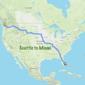 Map of United States showing route from Seattle to Miami