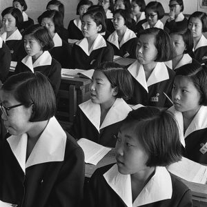 Room full of students dressed in school uniforms