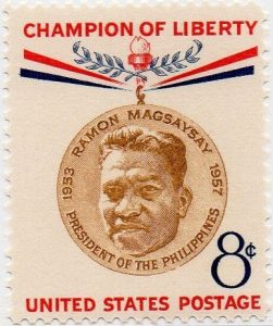 The U.S. honored Ramon Magsaysay with a postage stamp a few months after his death in 1957.