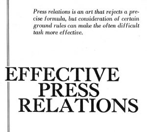 Original Article by Barry Zorthian on Effective Press Relations
