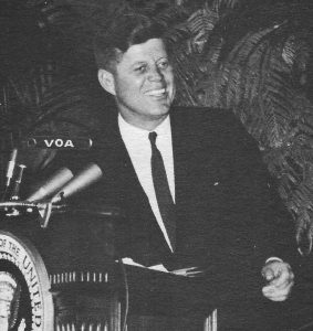 President Kennedy at the Voice of America, 1962. Credit: White House official photograph by Abbie Rowe.