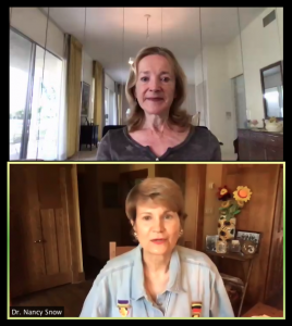 Head shots of Sherry Mueller and Nancy Snow from video
