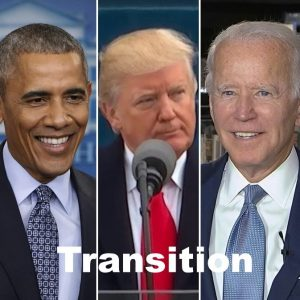Presidents Obama, Trump and Biden with label transition