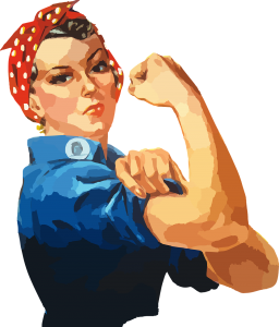 "Head and torso of ""Rosie the Riveter"" rolling up her sleeve"