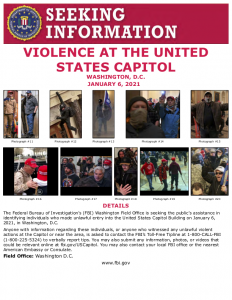 FBI wanted poster for Capitol rioters