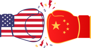 two boxing gloves with Chinese and U.S. flags