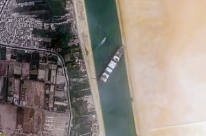 Aerial photo of container vessel in Suez Canal