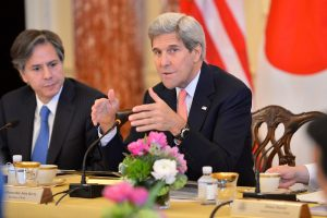 Climate Envoy John Kerry with Secretary of State Biden at table