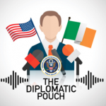 """podcast logo """"The Diplomatic Pouch"""""""