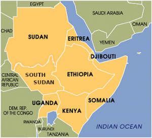 map showing the Horn of Africa